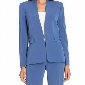 Tahari ASL Vintage Blue Collarless Blazer, Size 14